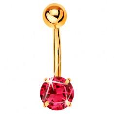 Köldök piercing sárga 14K aranyból - banán golyóval és rózsaszín cirkóniával
