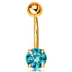 Köldök piercing sárga 14K aranyból - banán golyóval és kék cirkóniával