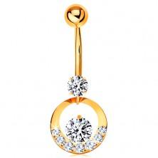 Köldök piercing - sárga 14K arany, karika átlátszó cirkóniákkal díszítve