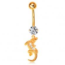 Köldök piercing sárga 14K aranyból - átlátszó cirkónia, kis krokodil hajlított testtel