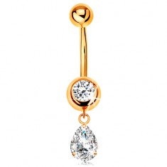 585 arany köldök piercing - kerek cirkónia foglalatban, függő cirkóniás könnycsepp