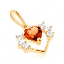 Medál sárga 14K aranyból - szív körvonal cirkóniával és csiszolt narancssárga szívvel
