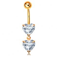 585 arany piercing köldökbe - két csillogó szív átlátszó cirkóniákból