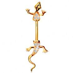 Piercing sárga 14K aranyból - banán, kettéosztott gyík átlátszó cirkóniákkal kirakva