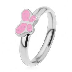 Gyermek gyűrű sebészeti acélból, ezüst árnyalat, lepke rózsaszín fénymázzal