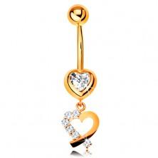 14K arany piercing köldökbe - cirkóniás szív, szív körvonal csillogó féllel