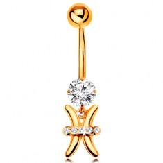 585 arany köldök piercing - átlátszó cirkónia, fényes csillagjegy szimbólum - HALAK