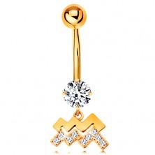 585 arany köldök piercing - átlátszó cirkónia, fényes csillagjegy szimbólum -VÍZÖNTŐ