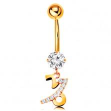585 arany köldök piercing - átlátszó cirkónia, fényes csillagjegy szimbólum - BAK