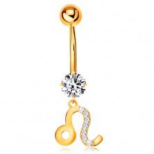 Köldök piercing sárga 585 aranyból - átlátszó cirkónia, csillagjegy szimbólum - OROSZLÁN