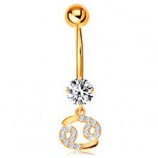 14K arany piercing köldökbe - átlátszó cirkónia, csillogó csillagjegy szimbólum - RÁK