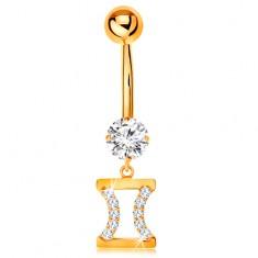 585 arany köldök piercing - átlátszó cirkónia, csillagjegy - IKREK