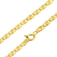 Arany nyakánc - lapos hosszúkás részek, sugaras bemetszések, 540 mm