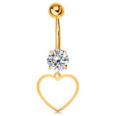14K arany köldök piercing - átlátszó cirkónia, szimmetrikus szív vékony körvonala