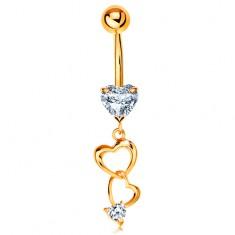 585 arany piercing köldökbe - szív körvonalak és átlátszó cirkóniás szív