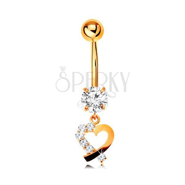14K arany köldök piercing - szív körvonal átlátszó cirkóniás féllel