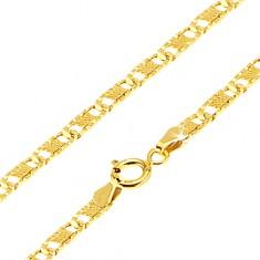 Arany nyaklánc - lapos hosszúkás vésetes elemek, háló, 450 mm