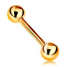 9K arany piercing - fényes barbell két csillogó golyóval, sárga arany, 12 mm