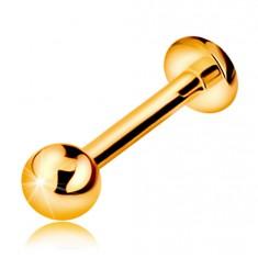 375 arany piercing ajakba, állba és ajak fölé - fényes sima golyó, 8 mm