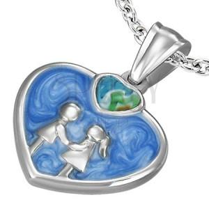 Szív medál minőségi acélból - lány és fiú, kék zománc