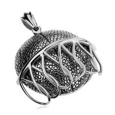 Masszív acél medál ezüst színben, kosárba eső kosárlabda