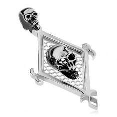 Medál 316L acélból ezüst árnyalatban, nagy rombusz és két koponya