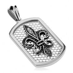 Acél medál ezüst színben, téglalap alakú tábla hálóval és Fleur de Lis