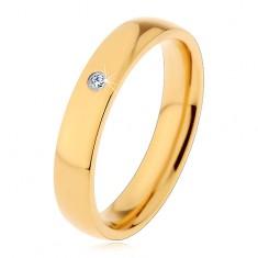 Gyűrű 316L acélból arany árnyalatban, tükörfény, beültetett átlátszó cirkónia, 4 mm