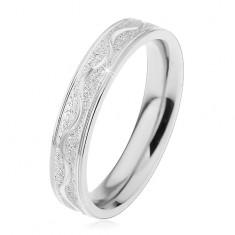 Acél gyűrű ezüst színben, szemcsés sáv fényes hullámmal, 4 mm
