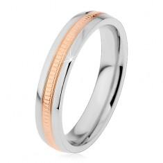 Kétszínű gyűrű 316L acélból, rovátkált sáv, sima szélek, 4 mm