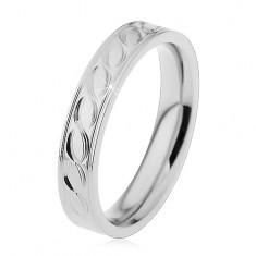 Acél gyűrű ezüst árnyalatban, bevésett hullámok motívuma, 4 mm