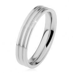 Fényes gyűrű 316L acélból ezüst színben, két hosszúkás bemetszés, 4 mm