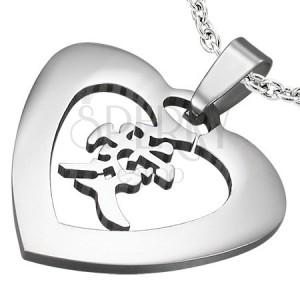 Acél szív medál kínai szimbólummal