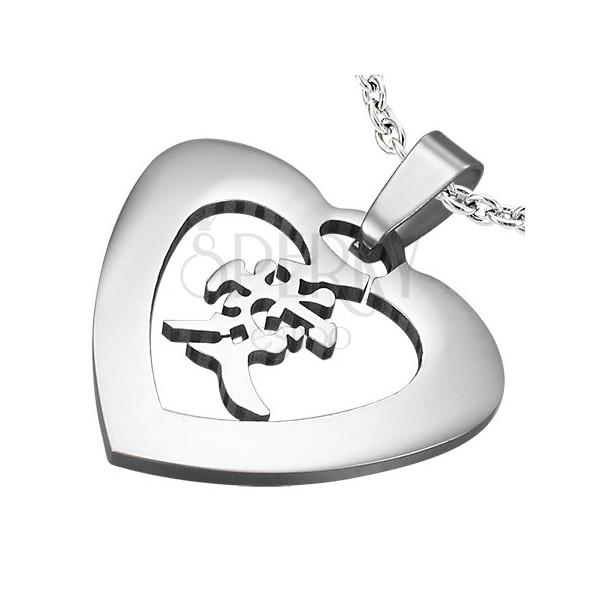 Ezüst színű acél medál - szív a szerelem kínai szimbólumával