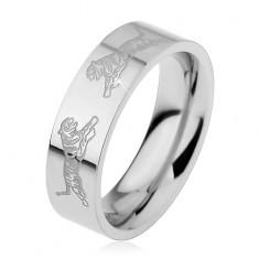 Gyűrű sebészeti acélból, ezüst szín, két tigris egymással szemben, 6 mm