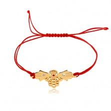 Zsinóros karkötő piros árnyalatban, három összekapcsolt Fatima kéz, átlátszó cirkóniák
