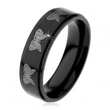 Fekete acél gyűrű, lepkék lenyomatai ezüst színben, 6 mm
