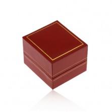 Ajándékdoboz gyűrűre, sötétpiros műbőr felület, arany színű szegély