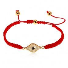 Állítható piros karkötő zsinórokból, szem szimbóluma átlátszó cirkóniákkal díszítve