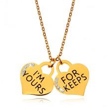 Acél nyaklánc arany színben, két szív alakú medál felirattal és cirkóniákkal