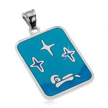 Medál 316L acélból, fénymáz a kék szín árnyalataiban, csillagok és csónak