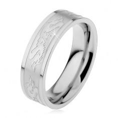 Acél karikagyűrű matt középső sávval, kínai sárkány mintával, 6 mm