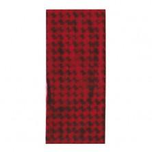 Piros színű celofán ajándékzacskó fénylő négyzetekkel