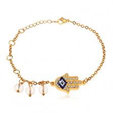 Sebészeti acél karkötő, arany színben, kék és átlátszó cirkóniás Hamsa kéz, átlátszó gyöngyök