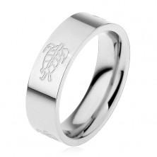 Sebészeti acél karikagyűrű, teknősbéka motívummal díszítve, 6 mm