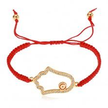 Zsinóros karkötő piros színben, Fatima keze szimbólum, átlátszó cirkóniák