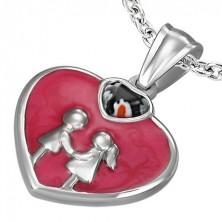 Szív medál acélból - lány és fiú, zománcozott felület
