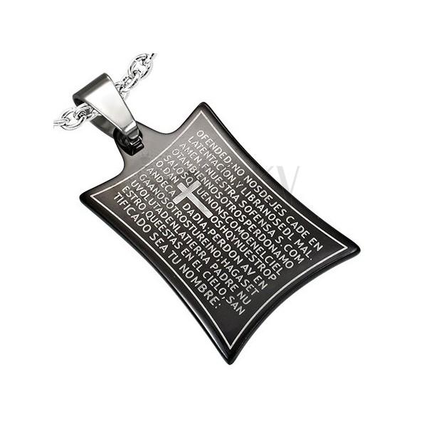 Minőségi acél medál - imaszöveg és kereszt