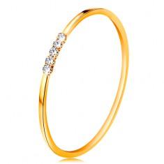 14K arany gyűrű - átlátszó cirkóniás sáv, vékony szárak