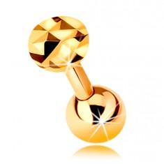 14K arany piercing fülbe - fényes egyenes súlyzó golyóval és csiszolt körrel, 5 mm